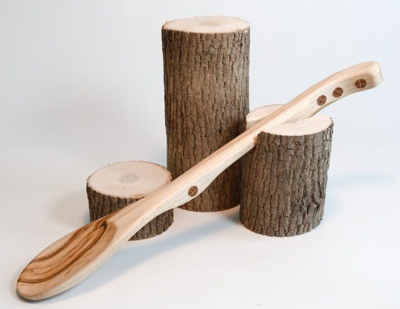 Rustic Handmade Wooden Spoon - Long Kitchen Spoons - Cooking Spoons - Made From Maple Ambrosia - Handmade In Maine - USA