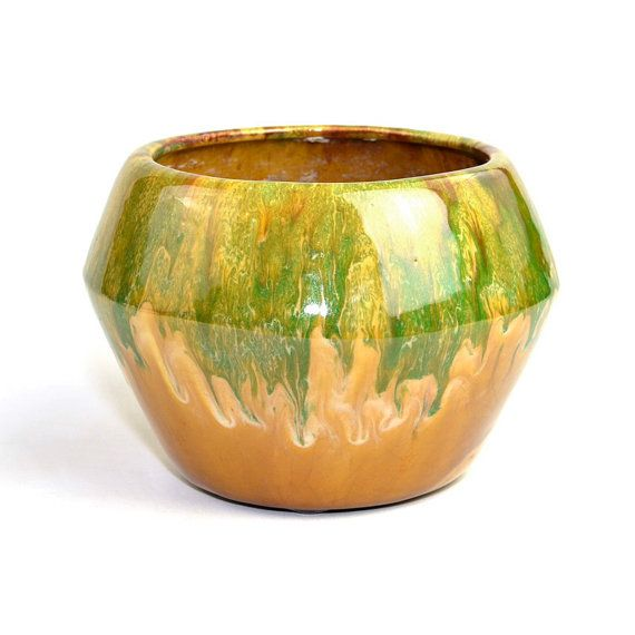 Retro Drip Glaze Ceramic Planter Large Deep Flower Pot