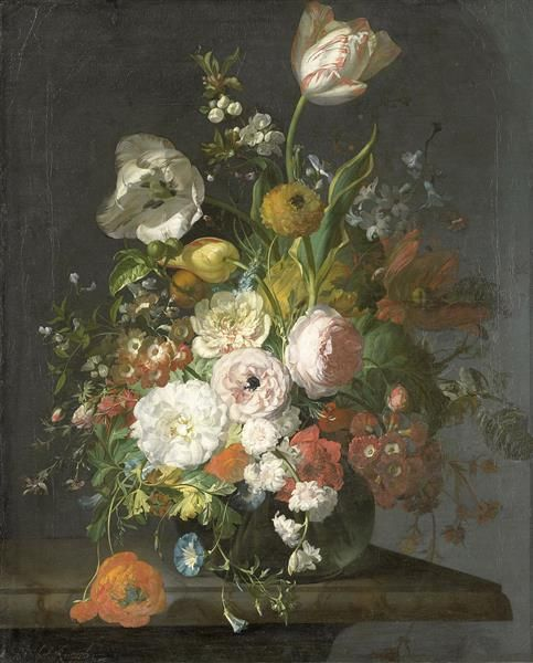 Tulips And Other Flowers In A Glass Vase 1709 Rachel Ruysch Flower Painting Flower Art Floral Art