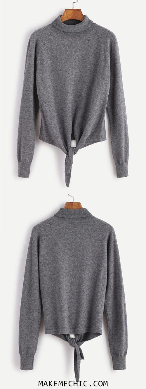 Grey Turtleneck Raglan Sleeve Knot Front Sweater