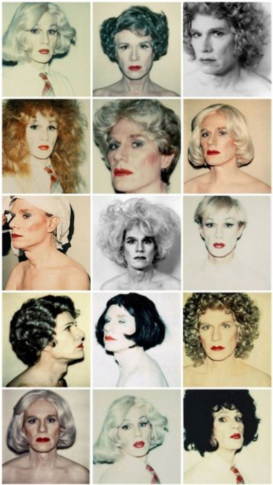 This inspires me to do an appropriation of Andy Warhol's Marilyn Monroe pop-art with people of different genders wearing different kinds of makeup (drag king, drag queen, cis afab, cis amab)