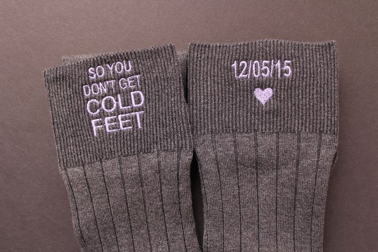 So You Don't Get Cold Feet Groom Socks, Grey or Black Groom Wedding Gifts. cold foot socks. Personalise Socks. groom gift from bride. F2 by Snugahug on Etsy https://www.etsy.com/listing/257295819/so-you-dont-get-cold-feet-groom-socks