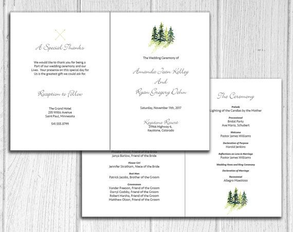 snowy pine trees folded 5x7 wedding program by ivoryisledesigns perfect for mountain or winter destination