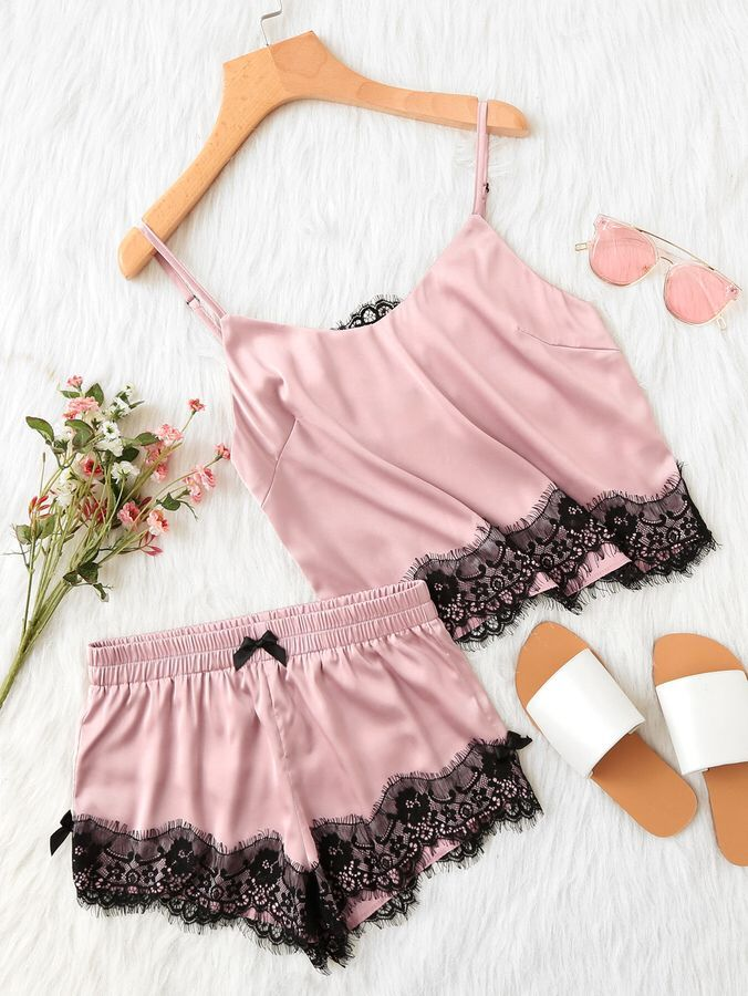 Perfect for Valentine's day! Lace Applique Satin Cami & Shorts PJ Set | SheIn | women's pajamas | v-day | Valentine's Day lingerie | wedding night lingerie | honeymoon lingerie | lingerie shower | Gift For her | #ad #Classylingerie