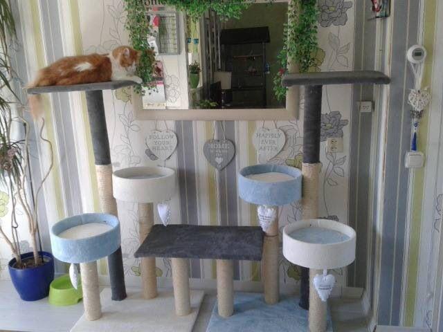 Kattenkrabpaal   Oude krabpaal uitelkaar halen,, opnieuw bekleden met fleecedeken  Mandjes van