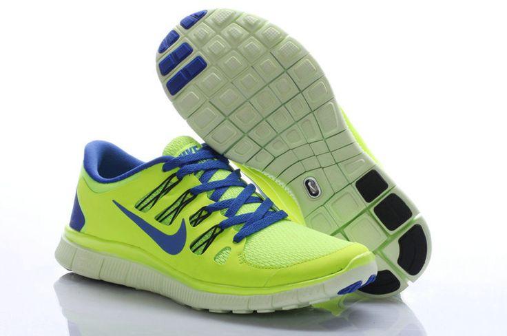 Nike Free 5.0 Kvinnor Volt Hyper Bla Svart Knappt