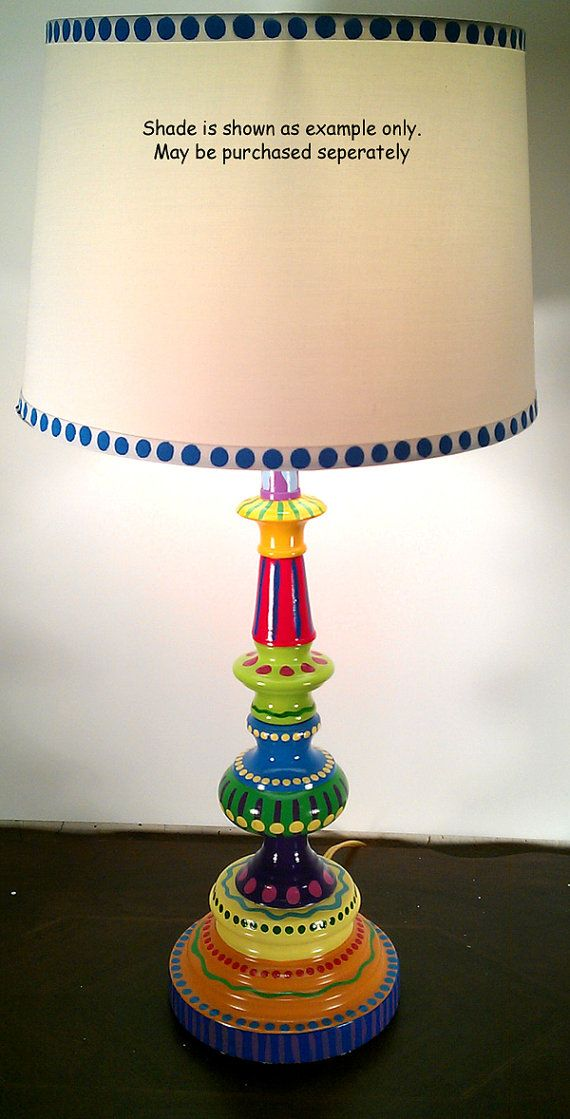 hand painted table lamp 002 fun funky whimsical and by lisafrick
