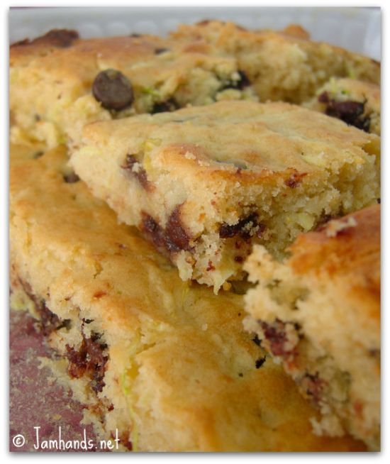easy chocolate chip zucchini bars recipe momspark.net