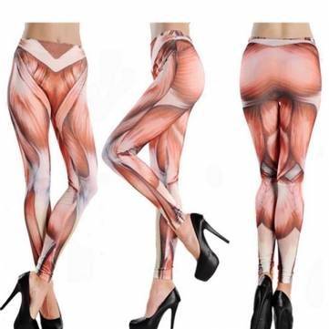 Funny High Waist Fitness Muscle Pattern Yoga Tattoo Women Pant Stretch Cropped L…