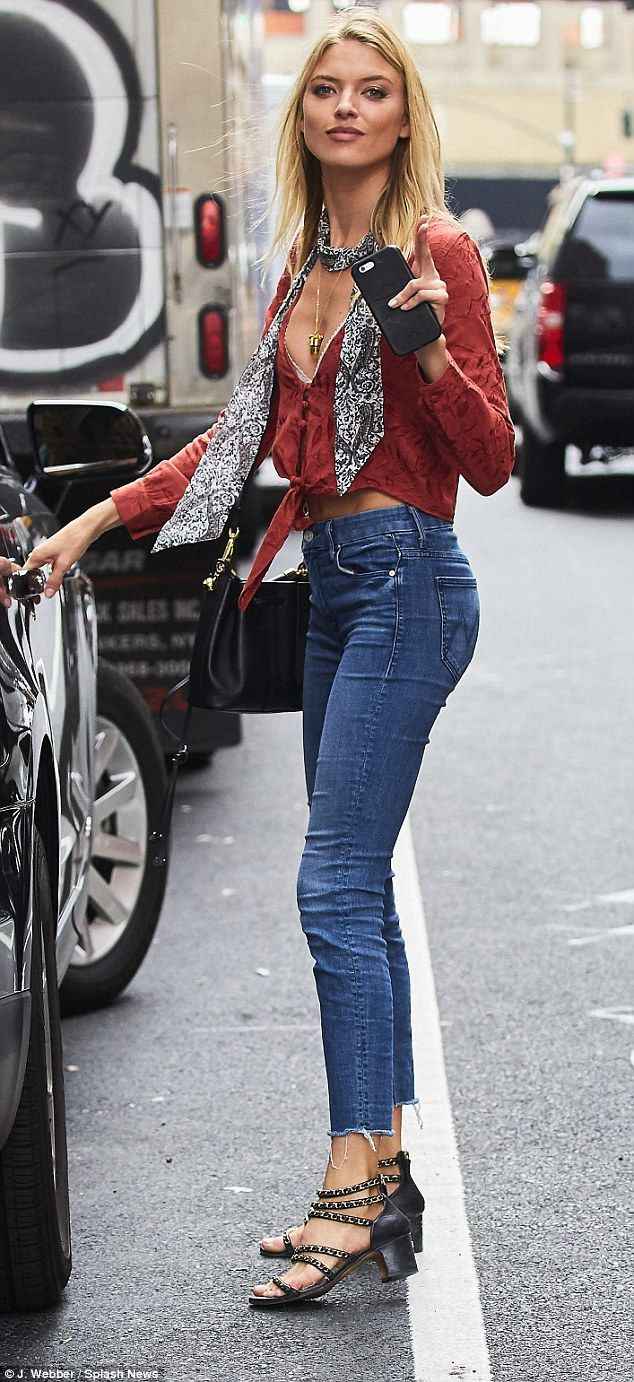 Victoria's secret: Model Martha Hunt donned a deep V Flynn Skye top ($148) and Looker Ankl...