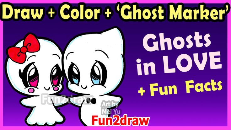 How To Draw And Color Cute Ghost Couple In Love Easy Cartoon Drawings Can You Draw Nail