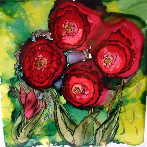 Alcohol Ink on a ceramic tile by Maxine Veronica