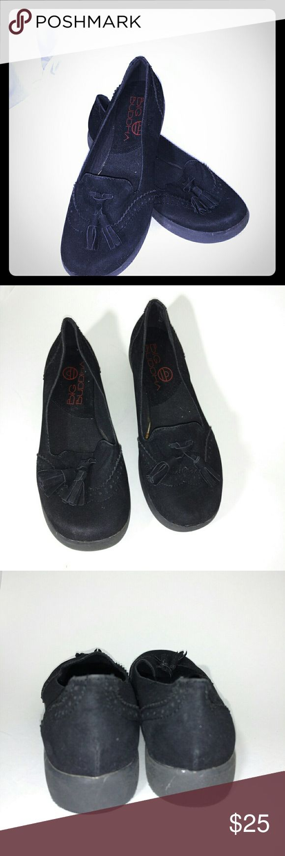 Big Buddha black loafers 8.5 Big Buddha black loafers, has 2 tassels on each shoe size 8.5 m. Like new Big Buddha Shoes Flats & Loafers