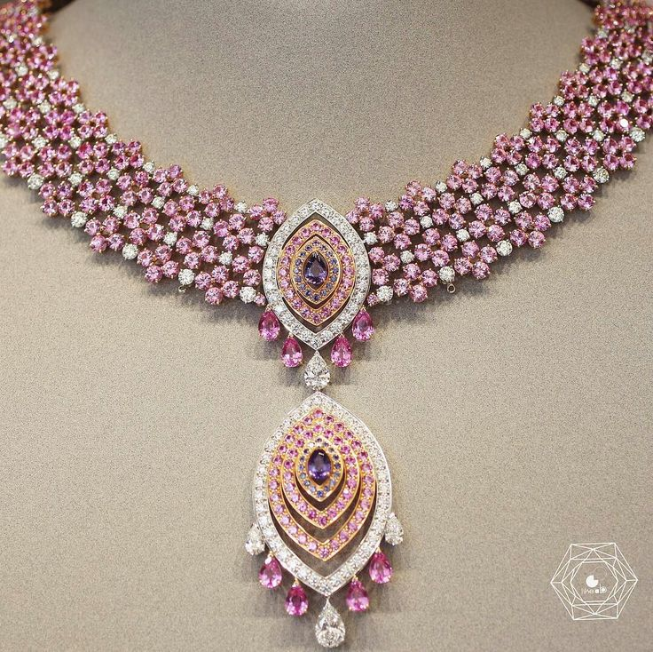 Beautiful necklace by dreaming @vancleefarpels all in pink sapphires and diamonds love it - credit #berengeretreussard @likeab .