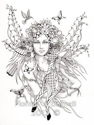fairy of the forest fairy tangles coloring sheet fairies owls deer digi coloring page by norma j burnell coloring sheet digi stamps