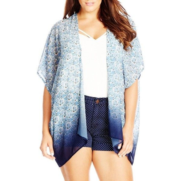 City Chic Ombre Print Kimono ($79) ❤ liked on Polyvore featuring intimates, robes, plus size, sky, floral kimono robe, chiffon kimono, womens plus size robes, patterned robes and plus size robes