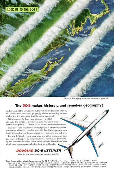 Douglas DC-8 Jetliner Makes History 1958 - www.MadMenArt.com features over 400…