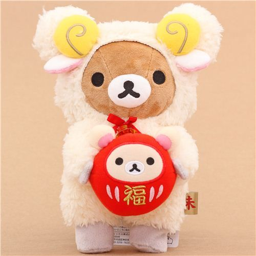 Chinese New Year Rilakkuma brown bear as sheep plush toy $24.57 http://thingsfromjapan.net/chinese-new-year-rilakkuma-brown-bear-sheep-plush-toy/ #rilakkuma plush #san x products #kawaii Japanese stuff