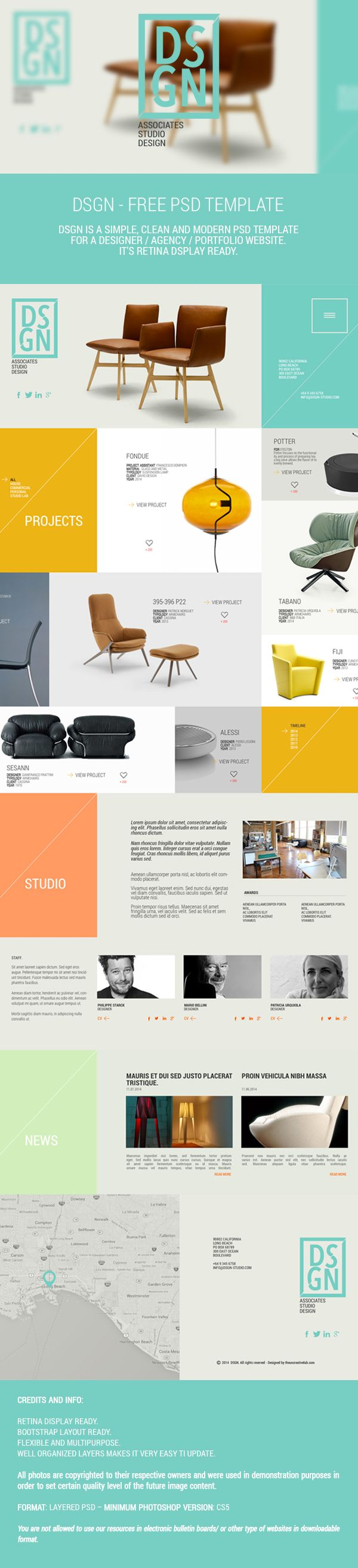DSGN - Free .PSD Template by michele cialone, via Behance