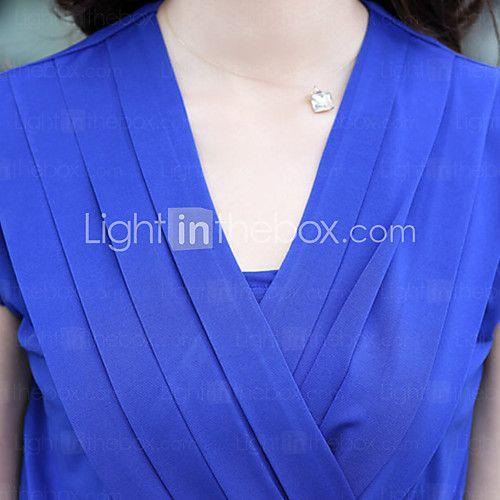 cuello sobrepelliz de las mujeres / v profunda acanalada / vestido de talla grande plisada, otros mangas midi - USD $ 15.99
