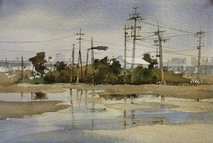【剛才下過雨】....... 透明水彩 watercolor,18*27CM,簡忠威