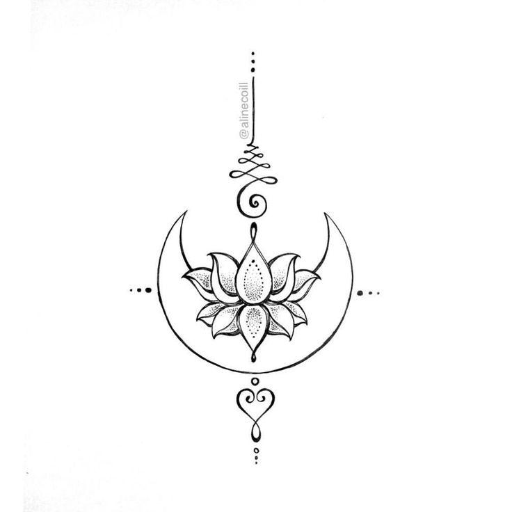 """57 curtidas, 1 comentários - TATTOO CREATOR ☾ ALINE (@alinecoill) no Instagram: """"• U N A L O T U S • Desenhos da #tattooweek2017. Vou liberar algumas #JewelryTattoos da Coleção de…"""""""