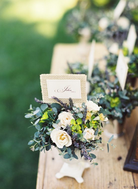 Place cards with burlap.