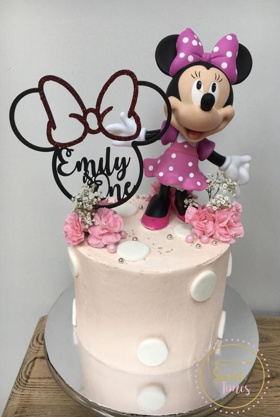 Mickey Mouse Minnie Mouse Theme Cake Topper Personalised Etsy Minnie Mouse Cake Themed Cakes Disney Birthday Cakes