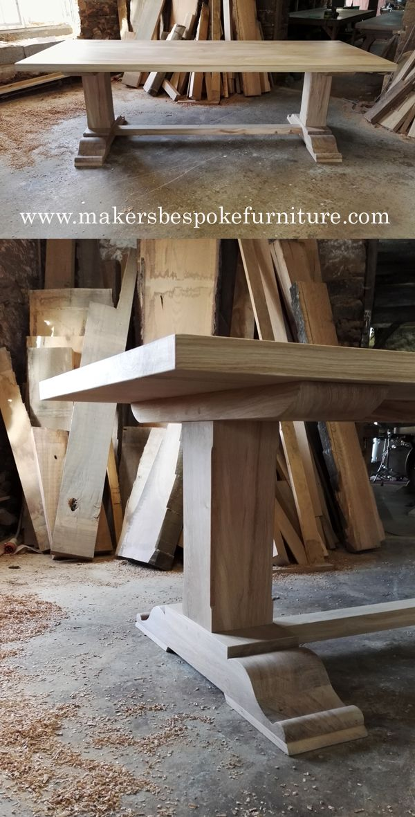 Bespoke Pedestal Refectory Table Oak Dining Table Handmade