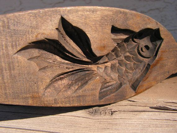 Asian coi wooden rice mold hand carved japanese wood