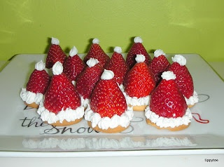 Strawberry & Nilla Wafer Santa Hats
