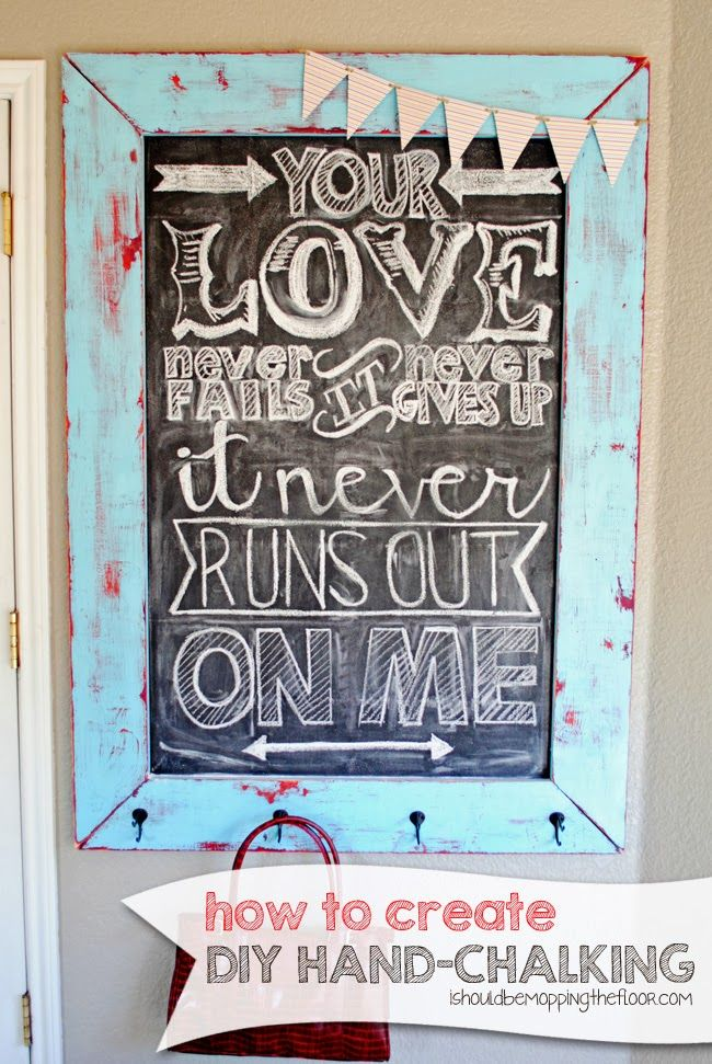 Tutorial on created hand-drawn chalkboard art. This little trick makes it easy and fun, too!
