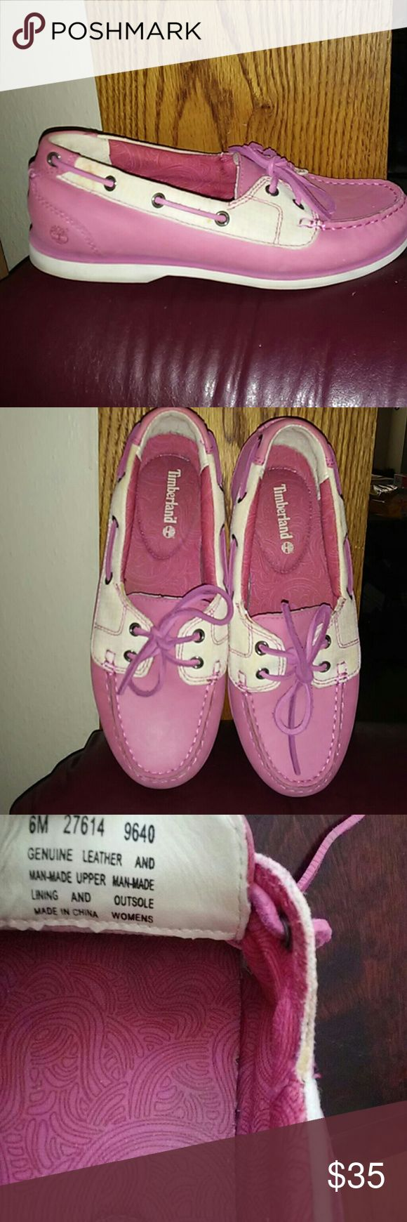 🌸PRICE⬇Womens SZ 6M Pink Boat Shoes🌸 Great used condition just need a light cleaning. See all pics. Last pic is a stock photo just to show brand new condition. No box with your purchase. Thank you for your interest 😃 Timberland Shoes Flats & Loafers
