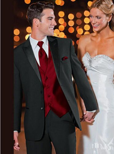 Black-Jacket-Red-Vest-Tie-Groom-Tuxedos-Best-Men-Groomsmen-Wedding-Suit-Custom