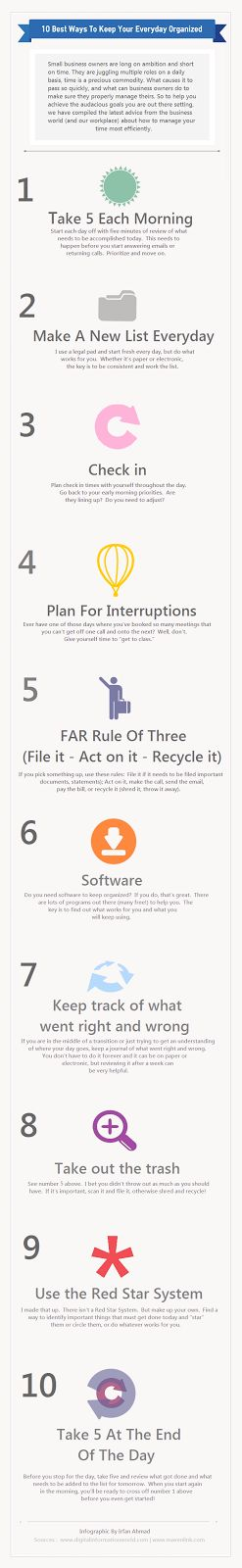 10 Best Ways To Keep Your Everyday Organized - time management tips for small business owners infographic via Digital Information World