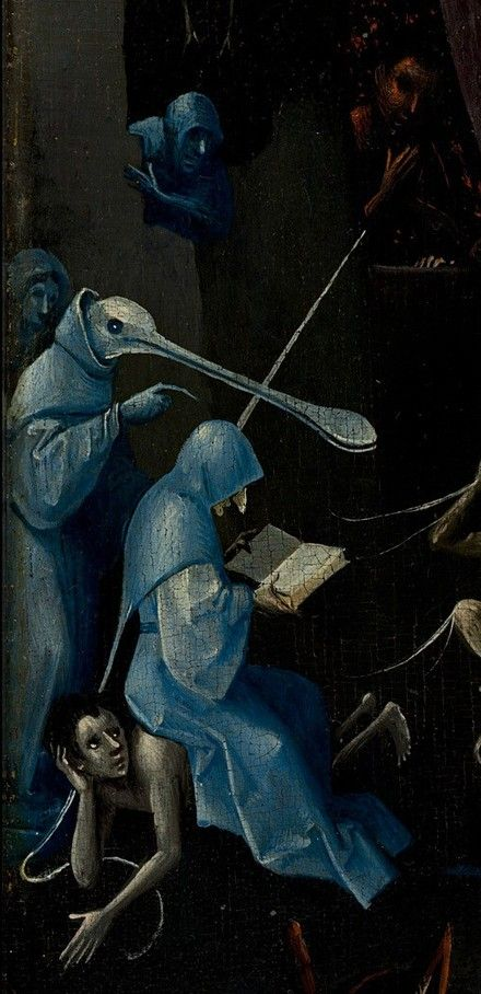 A demon reads sitting on a reprobe. Detail from The Garden Of Earthly Delights, Hieronymus Bosch, 1490 - 1510