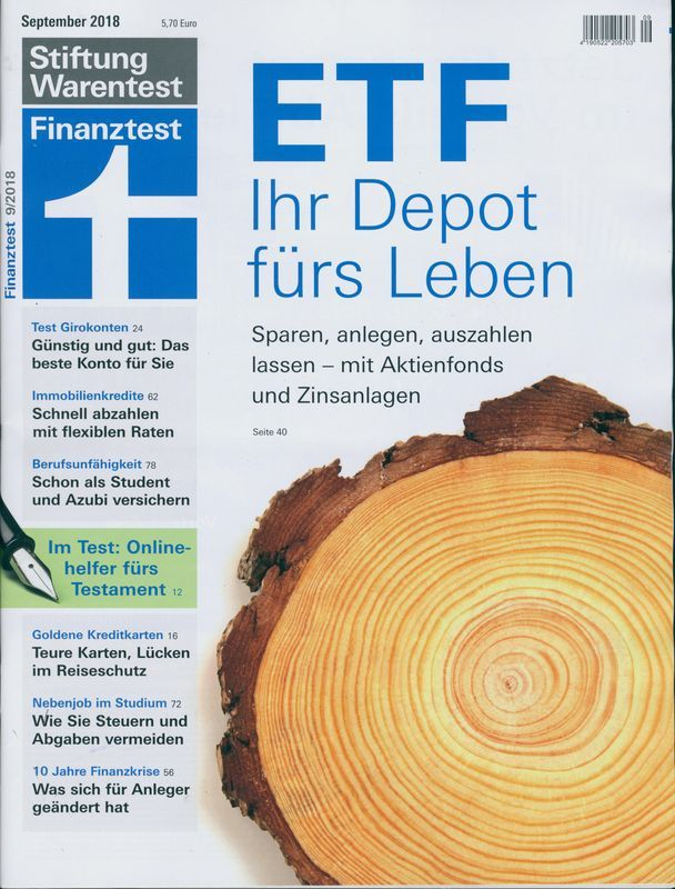 Finanztest 9 2018 Etf Ihr Depot Furs Leben Finanzen Leben