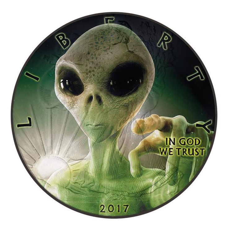 2017 1 Ounce American Eagle Glow in the Dark Alien Colored Silver Coin Set