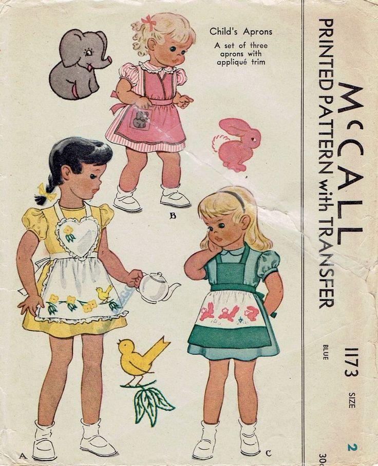 Vintage 1945 McCall 1173 Three Lil Girls Aprons w/Applique Animals Pattern_2,21
