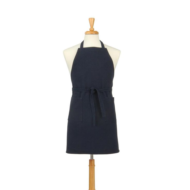 Two Pocket Cotton Canvas Chef's Apron, Navy Blue