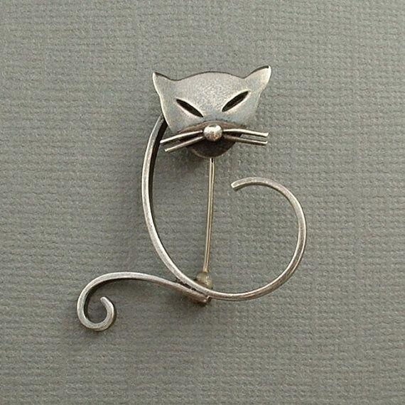 SIGNED Vintage Modernist STERLING Silver CAT Brooch by YearsAfter #VintageSterlingSilver #MexicanSterling #CatBrooch