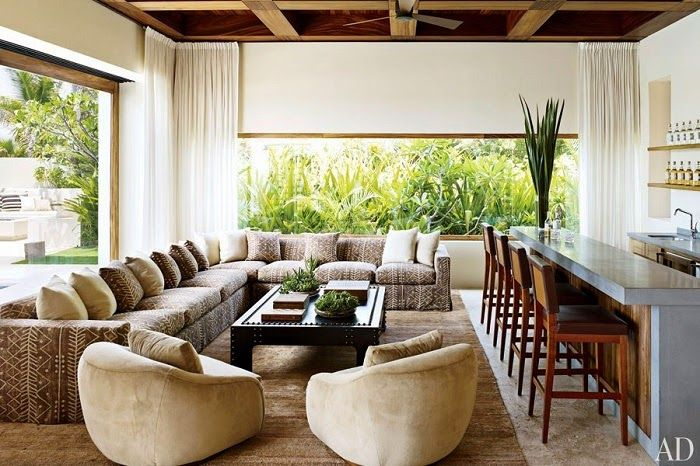 CHIC COASTAL LIVING: Cindy Crawford and George Clooney's Cabo San Lucas Beach Houses sectional living room family room