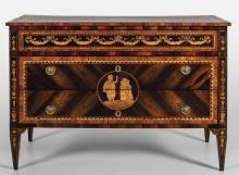 Comò Luigi XVI a due cassetti più uno, lastronato in palissandro e legni vari, con medaglioni ripetuti sul fronte e sui fianchi, piano intarsiato a motivi neoclassici, Lombardia fine sec.XVIII