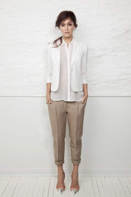 neutrals: Shoes, Work Looks, White Blazers, Khakis, Style, White Shirts, Work Outfits, White Blouses, Offices Chic