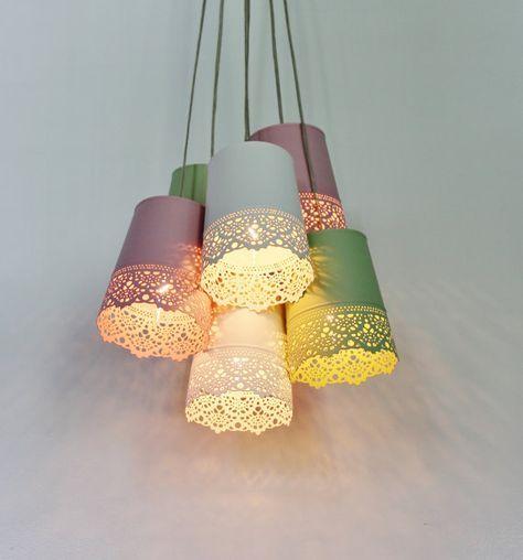 Pastell Lace Kronleuchter Beleuchtung Fixture   Upcycled Hängelampe Mit 6  Metall Garten Pflanzer Shades