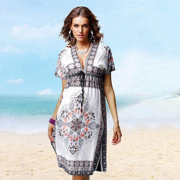 kadın yazlık elbise eski baskı elbiseler moda artı boyutu yaz tarzı 2015 yeni plaj elbise rahat vestidos kadın elbise cd480(China (Mainland))