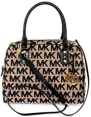 MICHAEL KORS MK SIGNATURE BLACK/BEIGE SATCHEL CROSSBODY BAG PURSE NWT