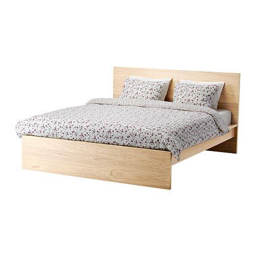IKEA - MALM, Cadre de lit haut, 140x200 cm,  , , Le placage en bois assurera une belle patine de la structure de lit.Les côtés de lit réglables permettent d'utiliser des matelas d'épaisseurs différentes.