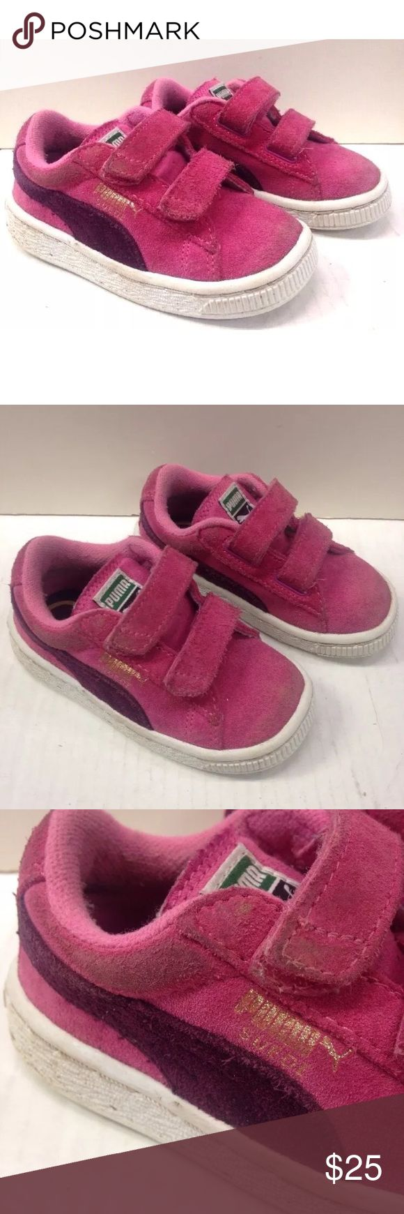 PUMA PINK SUEDE VELCRO SHOES sneakers TODDLER GIRL CUTE PAIR OF PUMA SUEDE VELCRO SNEAKERS  TODDLER GIRL SIZE 7 US PINK & PURPLE COLORS REALLY NICE CONDITION, SHOWS LITTLE WEAR See pictures for details Puma Shoes Sneakers