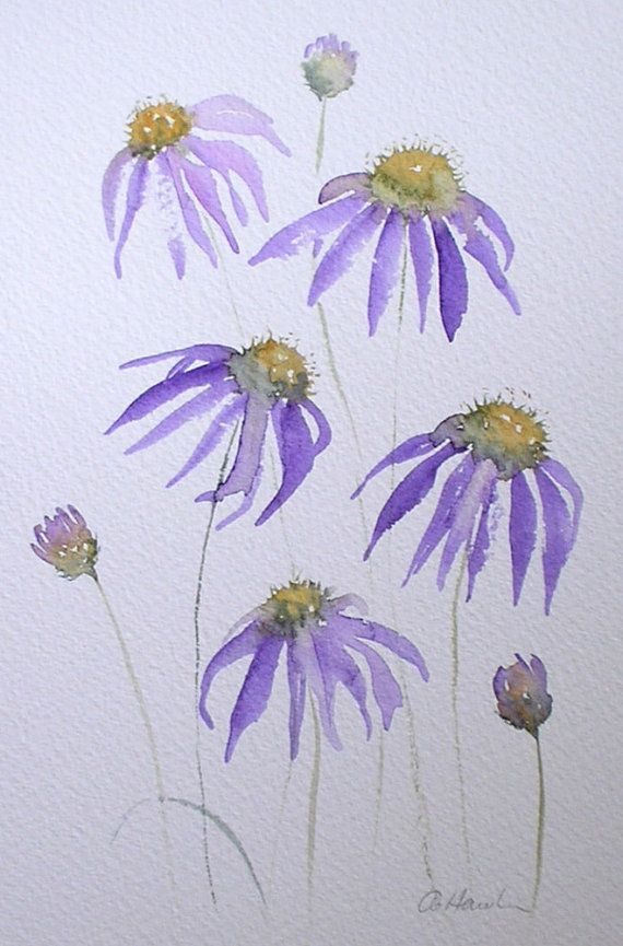 £80 ~ PURPLE ECHINACEA watercolour painting by TheMinervaGallery on Etsy
